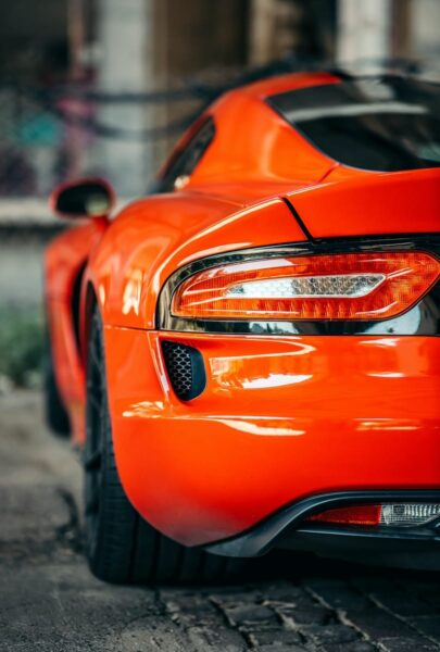 orange car with white light