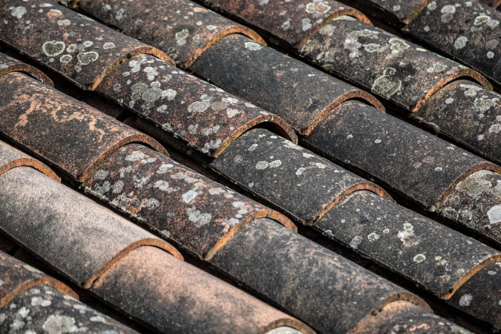 brown and black roof tiles